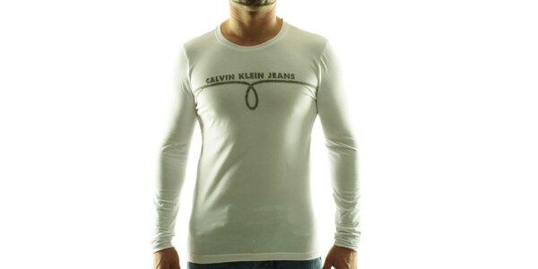 Pánské bílé tričko Calvin Klein s šedivým potiskem
