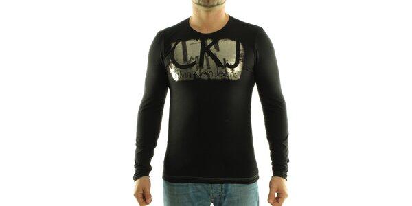 Pánské černé tričko Calvin Klein se stříbrným potiskem