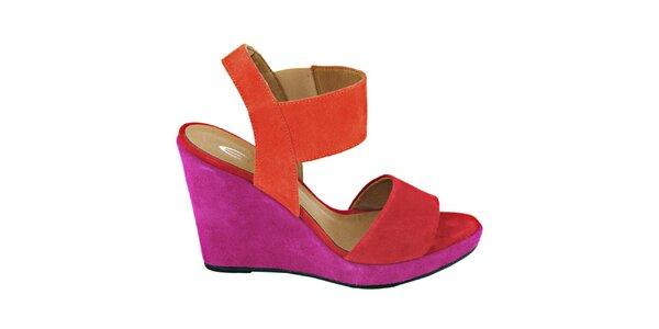 Dámské červeno-fuchsiové sandálky na platformě Eye