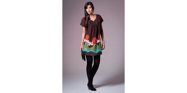 Dámské tmavě hnědé šaty Ada Gatti s barevným vzorem