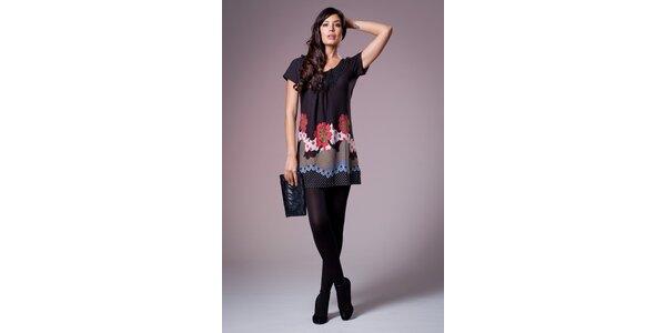 Dámské černé šaty Ada Gatti s barevným vzorem