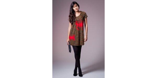 Dámské hnědé šaty Ada Gatti s červenými motýly