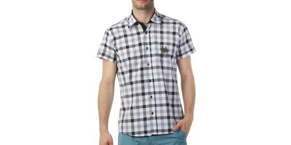 Pánská černě kostkovaná košile s krátkým rukávem Frank Ferry
