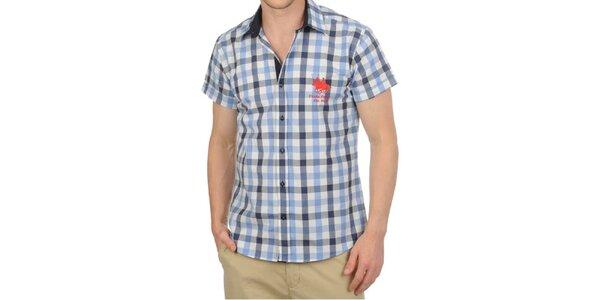 Pánská modře kostkovaná košile s krátkým rukávem Frank Ferry