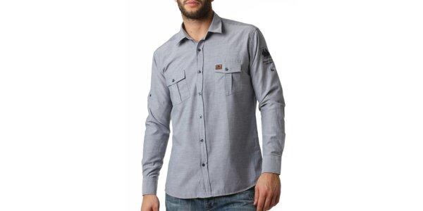 49ac9db1562 Pánská modrošedá košile s kapsami Frank Ferry