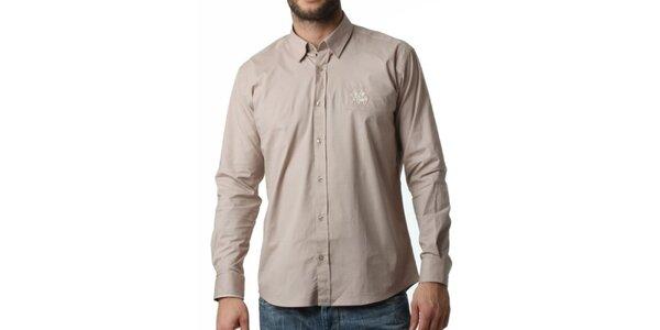 Pánská béžová košile s dlouhým rukávem Frank Ferry