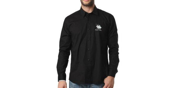 Pánská černá košile s dlouhým rukávem Frank Ferry