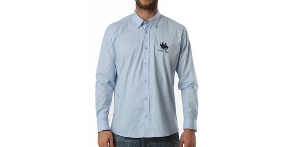 Pánská modrá košile s dlouhým rukávem Frank Ferry