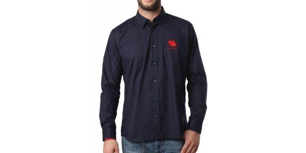 Pánská tmavě modrá košile s dlouhým rukávem Frank Ferry