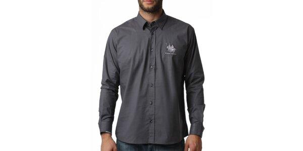 Pánská šedá košile s dlouhým rukávem Frank Ferry