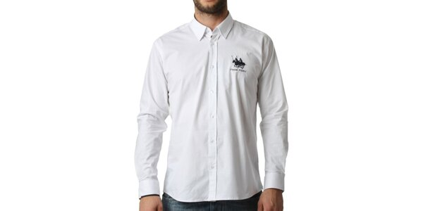 Pánská bílá košile s dlouhým rukávem Frank Ferry