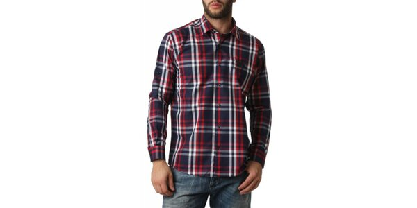 Pánská červeno-modro-bíle kostkovaná košile Frank Ferry