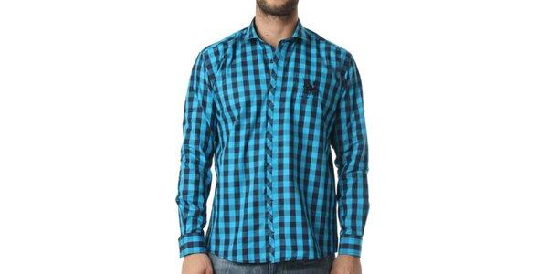 Pánská tyrkysovo-modrá kostkovaná košile Frank Ferry