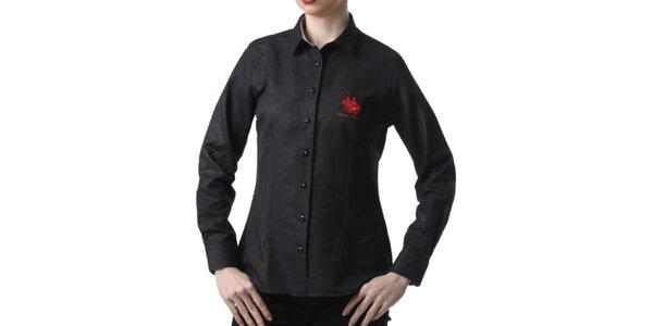 Dámská černá košile s výšivkou Frank Ferry