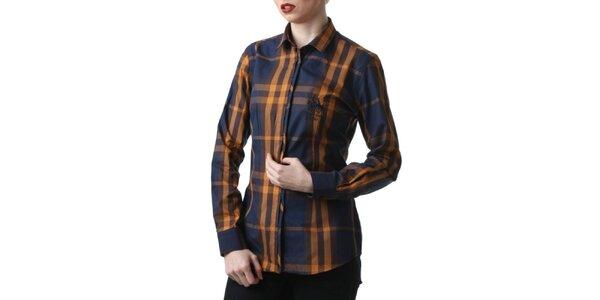 Dámská modro-hnědě kostkovaná košile Frank Ferry