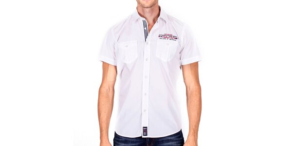 Pánská bílá košile s krátkými rukávy Galvanni