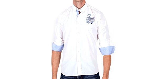 Pánská bílá košile s modrými manžetami Galvanni
