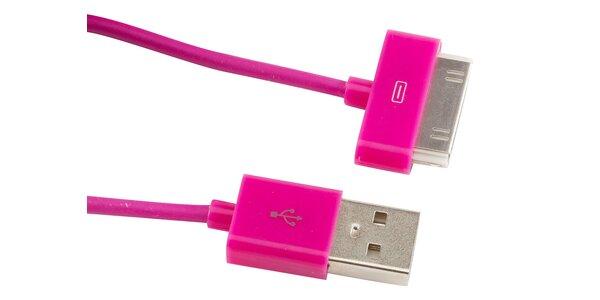 Růžový kabel pro iPhone 3/4/4S/iPod/iPod Nano/Ipod Touch 1-2-3-4