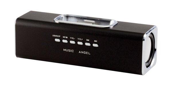 Černé mobilní reproduktory pro iPhone 3/4/4S a iPod s USB portem
