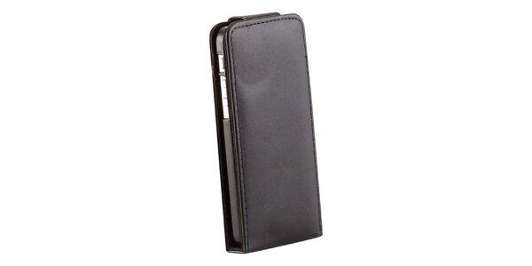 Černé zaklapovací koženkové pouzdro pro iPhone 5C