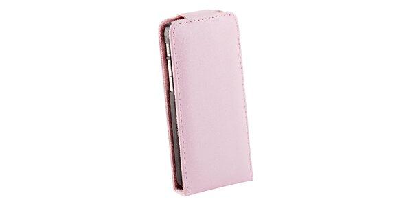 Růžové zaklapovací koženkové pouzdro pro iPhone 5C