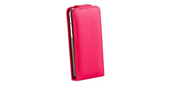 Červené zaklapovací koženkové pouzdro pro iPhone 5C