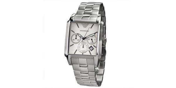 Pánské stříbrné hodinky s chronografem a hranatým ciferníkem Emporio Armani