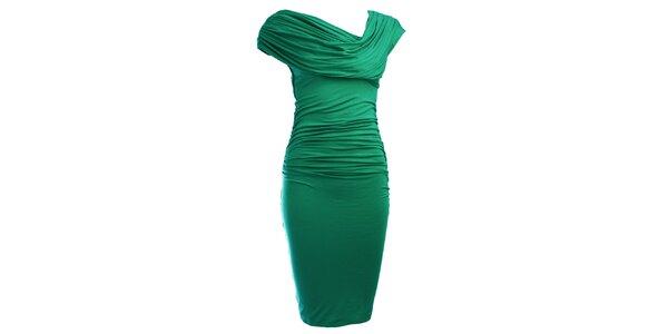 Dámské smaragdové šaty CeMe London s nařaseným vrškem