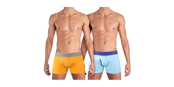 Sada dvou pánských boxerek Mosmann - oranžové a světle modré
