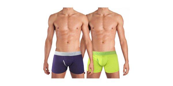 Sada dvou pánských boxerek Mosmann - fialové a limetkově zelené