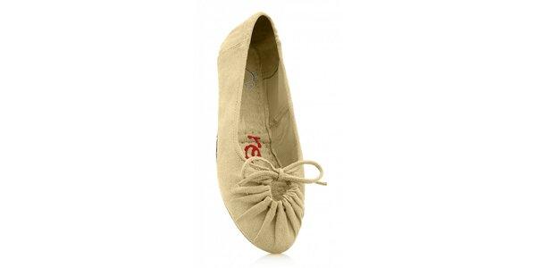 Dámské béžové skládací baleríny Reffoot v efektu semiše
