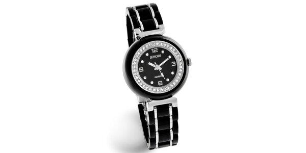 Dámské černé hodinky Bague a Dames se zirkony