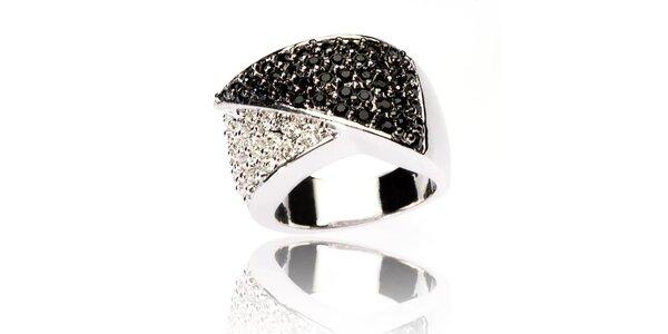 Dámský prsten Bague a Dames s bílými a černými zirkony