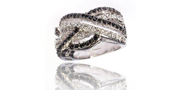 Dámský stříbrný prsten Bague a Dames a sbílými a černými zirkony