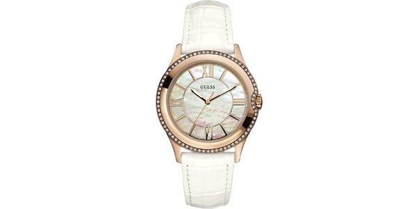 Dámské zlaté hodinky s perleťovým ciferníkem Guess
