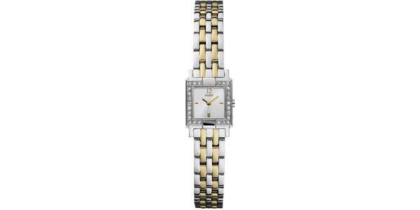 Dámské stříbrno-zlaté hodinky s krystalky Guess