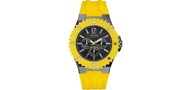 Pánské hodinky se žlutým silikonovým řemínkem Guess