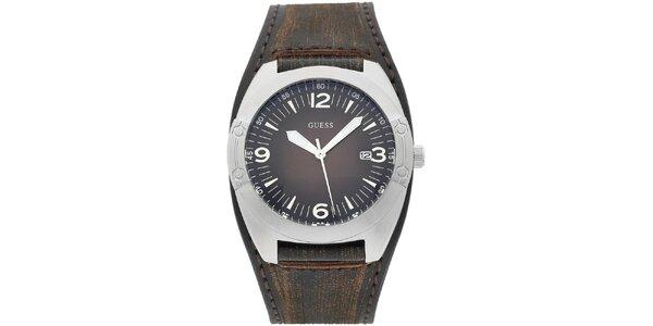 Pánské stříbrné hodinky s širokým řemínkem Guess