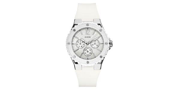 Dámské stříbrné hodinky s bílým řemínkem Guess