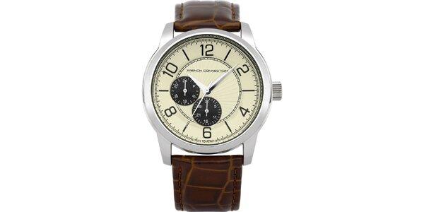Pánské stříbrné hodinky se světlým ciferníkem French Connection