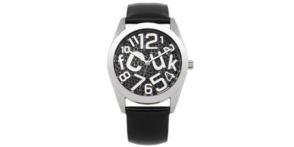 Dámské hodinky s černými kamínky French Connection