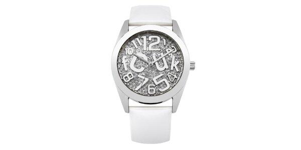 Dámské stříbrné hodinky s kamínky French Connection