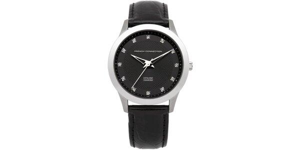 Dámské stříbrné hodinky s černým ciferníkem French Connection