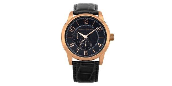 Pánské zlaté hodinky s černým ciferníkem French Connection