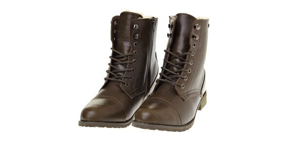 Dámské khaki kotníčkové boty Buffalo s kožíškem