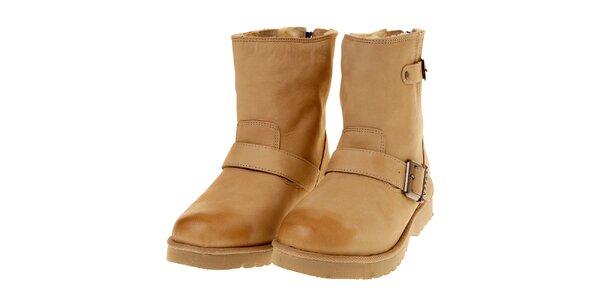 Dámské nízké béžové boty Buffalo s modrým zipem