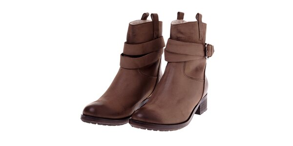Dámské hnědé kožené boty Buffalo