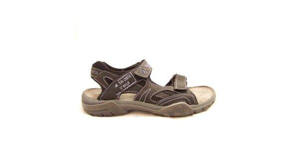 Pánské hnědé sandály s prošíváním Numero Uno