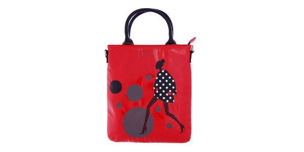 Dámská červená taška na iPad Elle s potiskem