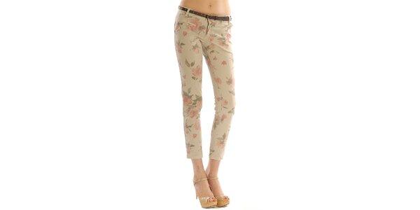 Dámské béžové květované kalhoty Silvana Cirri